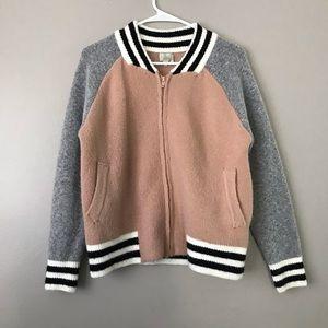 Hot & Delicious zip up fleece knit varsity jacket